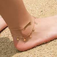 Anklets Two Layer Anklet Square Charm And Stars Pendant Gold Silver Color Plated Metal Chain Extend Lobster Clasp Women Gift