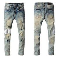 Бренд ins jeans и брюки шорты 2021 амир новых мужских роскошных дизайнеров джинсовые отверстия брюки байкер # 684