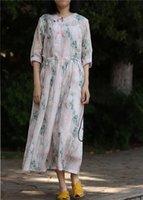 Chinês Cenário Tradicional Impressão Botão Eslant Botão Puro Ramie Ramie Vestido de linho, grande bainha cintura cintura três quartos manga vestido casual dres