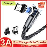 540 Tourner les câbles magnétiques 3A Chargement rapide Micro USB Type C pour iPhone 12 11 Xiaomi Samsung Magnet Chargeur de chargeur