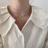 Origine Été Coréen double couche perle bow-nœud collier pour femmes design unique chaîne en métal perlé bijoux pendentif colliers