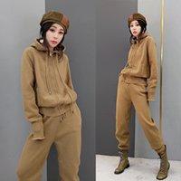 Rahat Koştu İpli Pamuk Fermuar Tam Örme Kapüşonlu Kazak Ve Pantolon 2-piece Set 2021 kadın İki Parçalı Moda İki Parçalı Pantolon