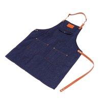 1 قطعة حساسة الدنيم ساحة النمط الشمال الرجعية سميكة باريستا عمل الملابس الملحقات (الدنيم الأزرق) المآزر