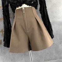 Mujeres 2021 Moda de verano Pierna ancha Pantalones cortos sueltos femenino Cintura alta Casual Damas Todo juego Chic Femme R42 Mujeres