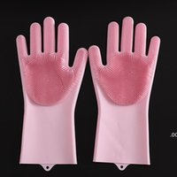 Magic Dishwashing Gloves for Washing Dishes Silicone Cleaning Gloves With Brushes Kitchen Household Rubber Sponge Gloves Car Wash LLA7092