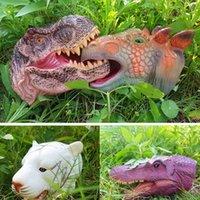 إصبع اللعب الأطفال ديناصور الحيوان اليد الدمى اللعب البلاستيكية الناعمة tyrannosaurus rex، stegosaurus، triceratops، raptors محاكاة نموذج نموذج لعبة