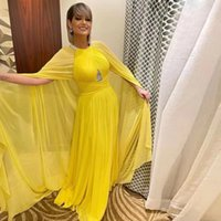 2022 Yellow Chiffon Mother of the Bridal Evening Dresses with Cape Bead Jewel Neck Ruched Guest Gown Plus Size Formal Wears