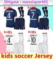 Mailleots de Football Kit 21 22 Kids Paris Soccer Jersey 2021 2022 Mbappe قميص بنين مجموعة موحدة السراويل الجوارب مايلوت القدم Hakimi Hommes Enfant