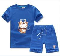 Yaz Bebek Giyim Setleri Erkek T-Shirt Tops Tasarımcı Çocuk Giysileri Kız Kazak İki Parçalı Yuvarlak Boyun Kısa Kollu Pantolon 2-7 Yıl