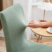 Cubierta de silla de comedor Compruebe Polar Fleece Funda protectora Estirar para Sillas de cocina Asiento Banquete Banquete Elástico OWEE5804