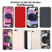 Full Housing For iphone 8 8Plus X XR XS MAX Back Glass Middle Frame Chassis House Battery Cover Door with cable Assembly Replacement