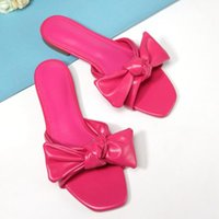 Sandals Fashion Women Slippers Thin Low Heels Black Rose Red Shoes Pointed Toe Big Bow Design Slip On Summer Beach Elegant Mules