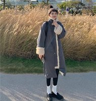 Women's Wool & Blends 2021 Winter Stand Collar Loose Medium-long Lamb Warm Cotton Jacket Women Coat Korean Clothing