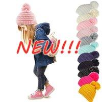 새로운!!! 비니 키즈 니트 모자 아이 chunky 두개골 모자 겨울 케이블 니트 슬라운 크로 셰 뜨개질 모자 야외 따뜻한 비니 모자 11 색 50pcs
