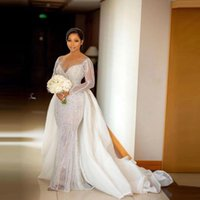 2021 Plus Size Aso Ebi Wedding Gowns With Detachable Train See Thru Women Crystals Beaded Bridal Party Dresses