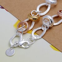 Quality Silver Divided 19x1.0cm Silver Heart High Stone Charm Spoon 925 Bracelet Inlaid Bracelet Sterling Lock, Plated Jewelry B233,wom Svxl