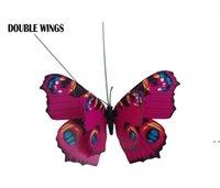 Décorations de jardin 12cm coloré deux couches de gros plumes de gros joueurs de papillons pour jardinage extérieur faux insectes owe5938