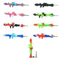 Smoking Accessories 10mm Silicones Nector Collector Gun Style with Titanium Naill Tip Dab Straw Silicone Pipe Glass Water Dabs Rig