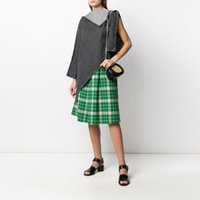 Margiela Scotch style House 20 summer song Yanfei high waist loose green plaid skirt