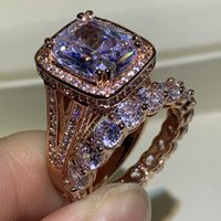 New Arrival Stunning Luxury Jewelry 925 Sterling Silver&Rose Gold Fill Cushion Shape White Topaz CZ Diamond Women Wedding Bridal Ring Set