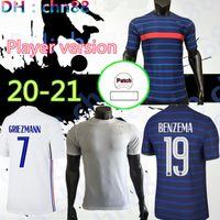 نسخة لاعب France 2021 2022 Grizmann Benzema Mbappe Mabappe Maillot De Foot France Soccer Jersey Kante Pogba Fekir Pavard كرة القدم قميص 20 21 زيدان