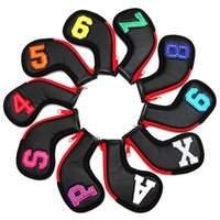 Club Heads 10pcs   Set Colorful Number Black PU Golf Irons HeadCover Zipper Wedges Cover Headover