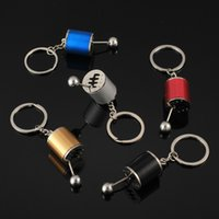 Creative 6 Speed Gearbox Gear head Keychains Jewelry Manual Transmission Lever Metal Key Ring Car Refitting alloy Pendant keychain