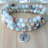 Tennis 5-Wraps Frosted Amazonite Pulsera Mujer 108 Buddhist Prayer Beads Mala Bracelet Or Necklace Tree Of Life Wrist Women