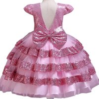 Girl's Dresses Pegeant Sequined Backless Kids For Girls Wedding Party Princess Baby First Communion Layered Tutu