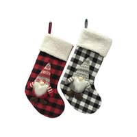 DHL 18 inch Anjule red white check socks Christmas Stockings Trees Ornament Decorations Santa Gift Candy Bags