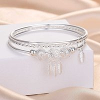 925 Silver Plated Bangles With Leaf And Beads Pendant Bracelets Jewelry For Women