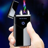 더블 아크 라이터 충전 방풍 크리 에이 티브 라이터 USB 전자 담배 가벼운 지문 터치 감지 전원 디스플레이 ZC203