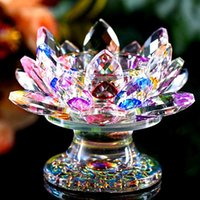 Candle Holders 9*11CM lotus Butter lamp holder Crystal candle table Decoration souvenirs Craft Gift Buddhism supplies 5R9L A50K