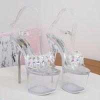 Mulheres Verão Stripper 15cm 17 cm de altos saltos sandálias sexy 5cm 7cm plataforma de prata cristal bombas transparente festa vestido sapatos de baile