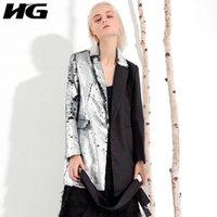Kadın Takım Elbise Blazers HG Sonbahar Ekleme Küçük Takım Elbise Kadın Blazer Iki Ton Pullu Orta Uzun Kadınlar Moda Ince Hırka Sashes W