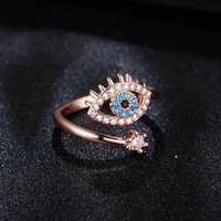Lucky Turkish Blue Evil Eye Rings With Sde Stones Open Adjustable Finger Wedding Ring For Women 2022 Trendy Jewelry wholesale