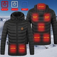 Men Women Heated Jackets Outdoor Vest Coat USB Electric Battery Long Sleeves Heating Hooded Warm Winter Thermal Clothing Women's Down & Park