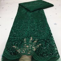 2020 Zielone cekiny Design Afryki Koronki Netto z aplikacją Szycie Francuski Nigerii Mesh Koronki Tkaniny do sukni ślubnej Różowy
