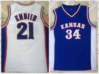 2021 Vintage Männer Retro Klassische Basketball Jersey Joel Embiid 21 Paul Pierce 34 Andrew Wiggins Hemden Atmungsaktiv kurze Schwarz Blau Weiß Größe S-2XL