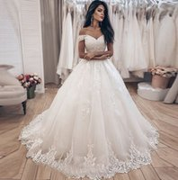 Off the Shoulder A Line Lace Wedding Dresses with Appliques Lace-up Back Sweep Train Tulle Plus Size Bridal Gowns