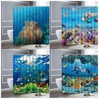 دش الستائر 3d قاع البحر العالم المحيط دولفين المرجان الاستوائية الأسماك طباعة النسيج للماء تشايلدز الحمام الستار مجموعة ديكور المنزل