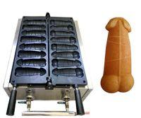 Paslanmaz Çelik LPG Gaz Tipi 8 ADET Penis Şekli Waffle Sıcak Köpek Sosis Makinesi Büyük Horoz Lolly Waffle Sticks