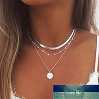 New Style Lotus Necklaces Jewelry Girl Silver Color Bohemia Alloy Necklace Multilayer Chain For Women Factory price expert design Quality Latest Style Original