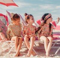 Çocuk Baskılı İki Adet Bikini Kızların Uzun Kollu Güneş Kremi Mayo Suit Çocuğun Hızlı Kurutma Yüzme Giyim 6 Stilleri