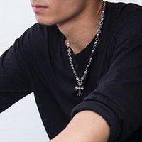 Silver en acier inoxydable vintage croix styles punk colliers de pendentif personnalité acier titane aciers longs chandail chaîne mode de mode bijoux accessoires