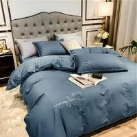 Bettwäsche-Sets Grau feste ägyptische Baumwolle Set USKing-Königin Größe Chic Goldene Stickerei Bettdecke SUPER Weiche Bettbettbett Bettbezug