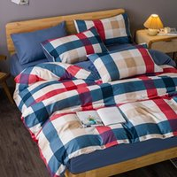 Bedding Sets Green Grid Duvet Cover Plaid Cute Quilt Pillowcase Bed Flat Sheets Modern Twin Full Single Bedclothes