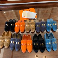 2021 Дизайнерские шерстяные тапочки Женщины Принстаун Kelly Top Fox Mur Mink Волос Сандалии Металлические Цепи Обувь Зимние Плюшевые На открытом воздухе Теплые Мокасины Слайды с коробкой размером 35-40