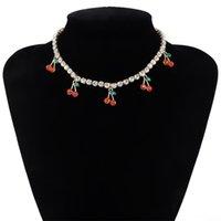 Nuevo diseño Charm Rhinestone Cerezo Colgante Colgante para mujer Declaración de tenis Cadena de tenis Gargantilla Collar de cristal Chicas Hiphop Jewelry1 580 T2