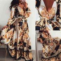 Donne boho wrap estate lond dress vacanza maxi sciolto prendisole floreale stampa con scollo a V manica lunga elegante abiti da cocktail party_buod